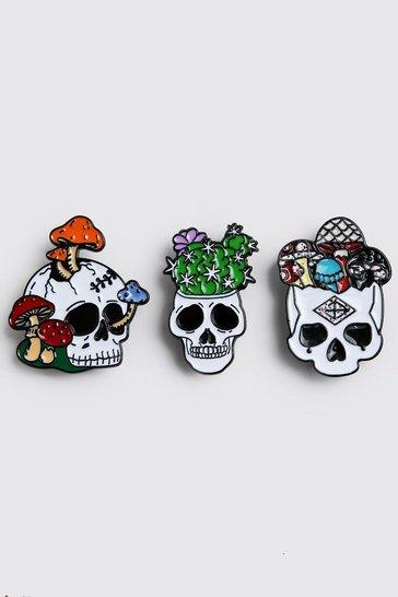 Multi 3 Pack Skulls Pin Badges