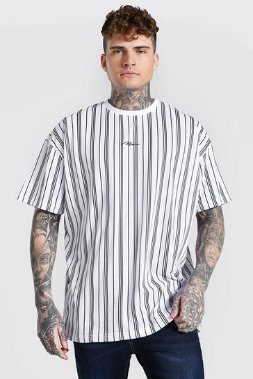 Ecru white Oversized Man Signature Stripe T-shirt