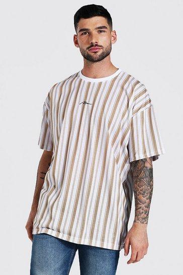 Taupe beige Oversized Man Signature Stripe T-shirt