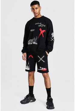 Black Oversized Man Graffiti Short Sweat Tracksuit