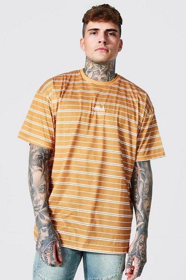 Mustard yellow Oversized Offcl Stripe T-shirt