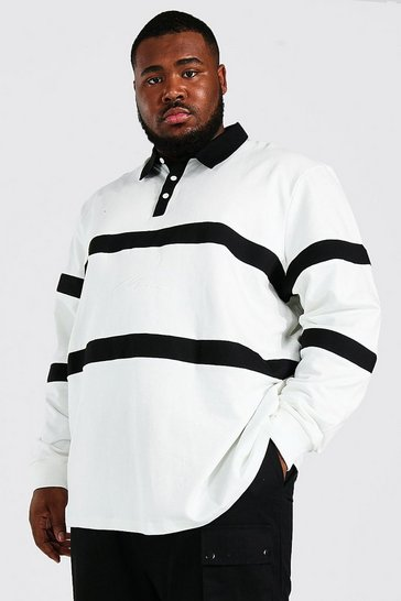 Ecru white Plus Size Man Script Colour Block Rugby Polo