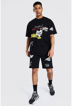 Black Oversized Skull Graffiti T-shirt & Short Set