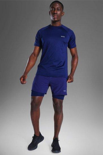 Navy Man Active T-shirt & 2-in-1 Short Set