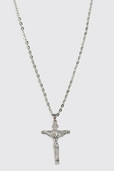 Silver Crucifix Pendant Necklace