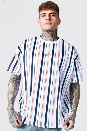 White Oversized Offcl Stripe T-shirt