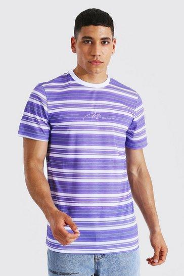 Lilac purple Slim Fit Man Signature Stripe T-shirt