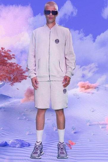 Ecru white Man Velour Short Bomber Tracksuit With Piping