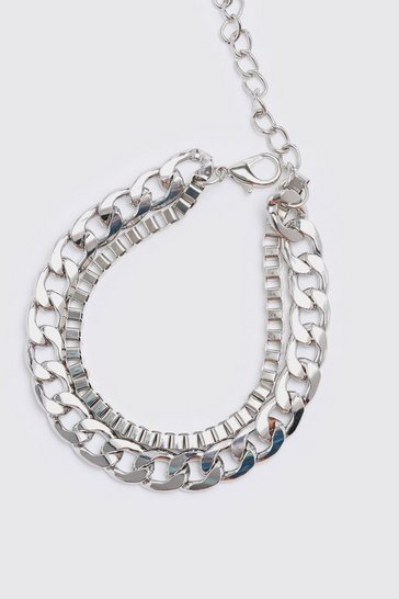 Silver Double Layer Chunky Chain Bracelet