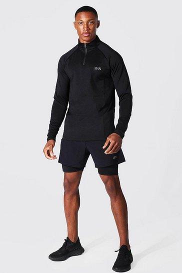 Black Man Active Funnel Neck & 2-in-1 Short Set