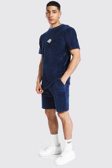 Navy Official Velour T-shirt & Pintuck Short Set