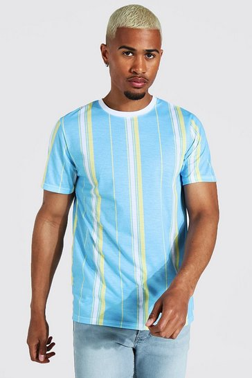 Blue Vertical Stripe Crew Neck T-shirt