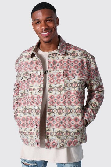 Brown Oversized Fit Abstract Printed Denim Jacket