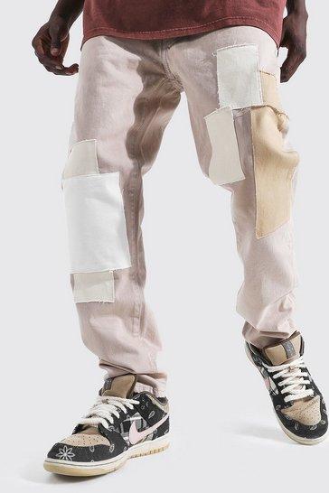Ecru white Slim Fit Patchwork Jean