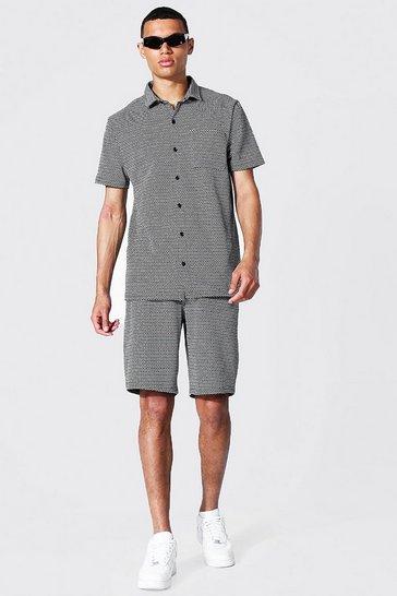Black Tall Short Sleeve Jacquard Shirt And Shorts