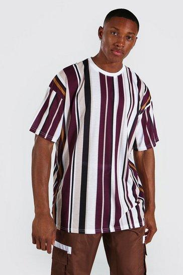 Multi Oversized Vertical Stripe Crew Neck T-shirt