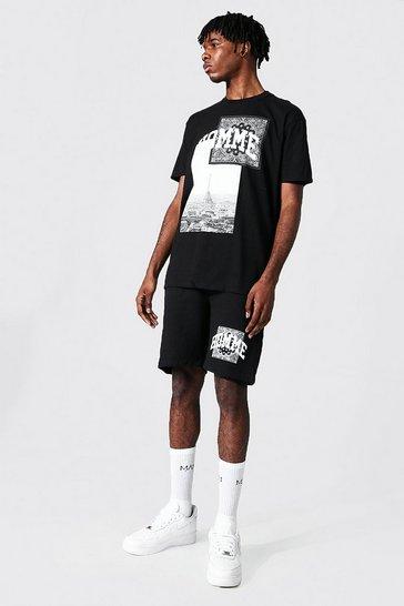 Black Oversized Homme Print T-shirt And Short Set