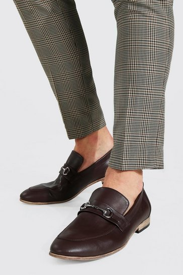 Chocolate brown Faux Leather Metal Bar Loafer