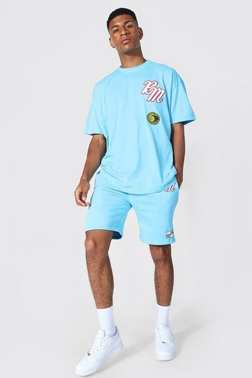 Blue Oversized Applique Varsity Tshirt & Shorts Set