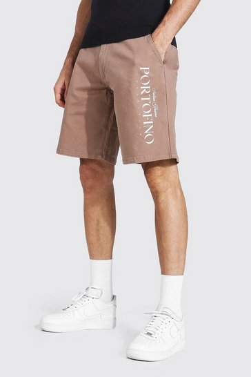 Chocolate brown Relaxed Fit Chino Short With City Print