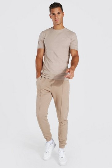 Chocolate brown Tall Muscle Fit Jersey T-shirt And Jogger Set