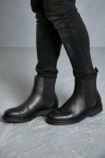 Black Leather Look Chelsea