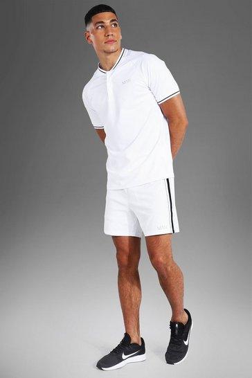 White Man Active Rib Detail Short Set