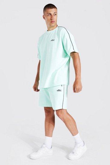 Mint green Oversized Offcl Velour T-shirt & Short Set
