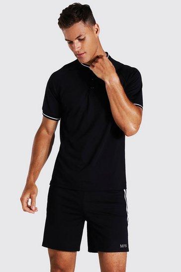 Black Tall Man Active Rib Collar Crew Polo Top