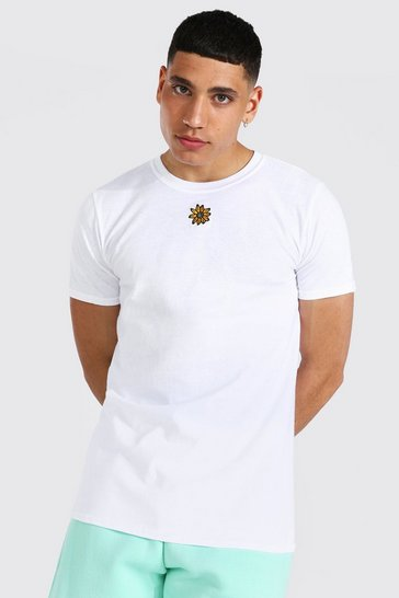 White Sunflower Embroidered T-shirt