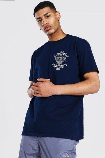 Navy Oversized Worldwide Graphic Print T-shirt