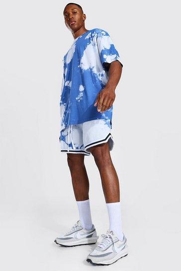 Blue Oversized Tie Dye T-shirt & Basketball Short