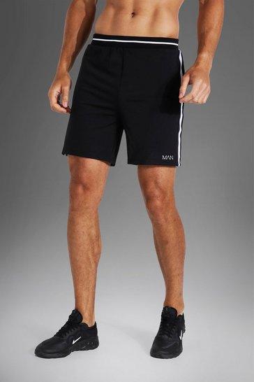 Black Tall Man Active Rib Stripe Short