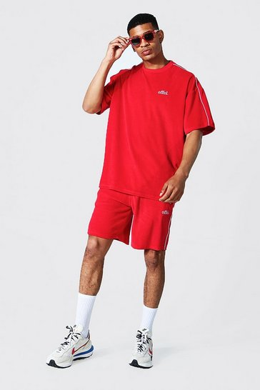 Red Oversized Offcl Velour T-shirt And Short Set
