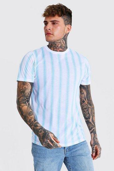 White Vertical Stripe Crew Neck T-shirt