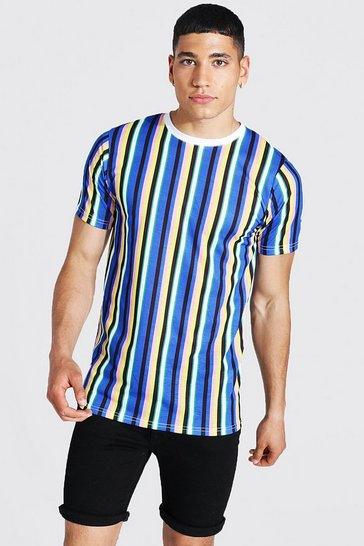 Blue Slim Fit Vertical Stripe Crew Neck T-shirt
