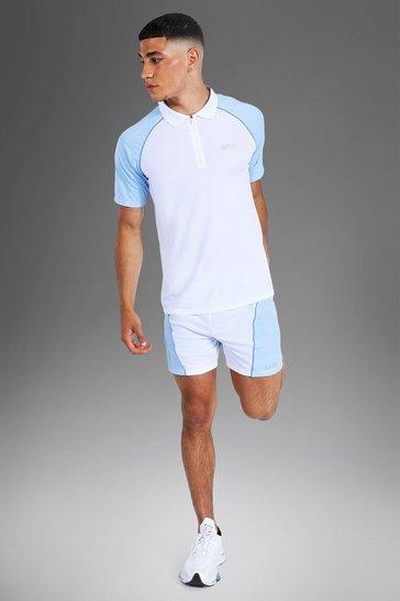 White Man Active Contrast Neck Polo & Short Set