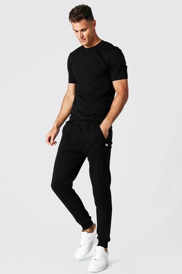 Black Tall Muscle Fit Jersey T-shirt And Jogger Set