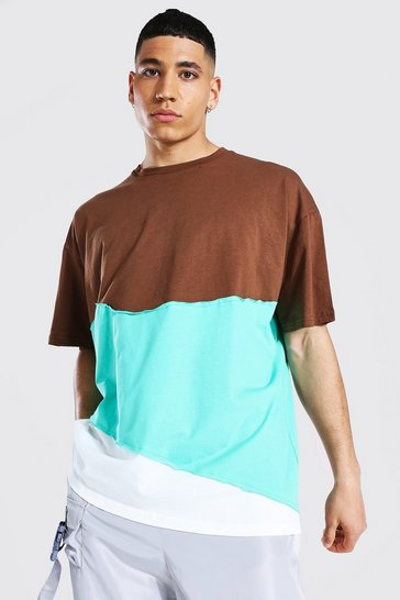 Chocolate brown Oversized Spliced T-shirt