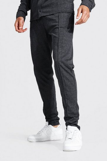 Brown Tall Skinny Check Jacquard Pintuck Trousers