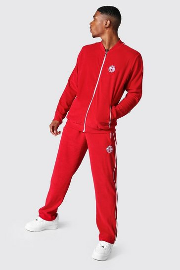 Red Man Velour Bomber Tracksuit With Piping