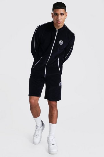 Navy Man Velour Short Bomber Tracksuit With Piping