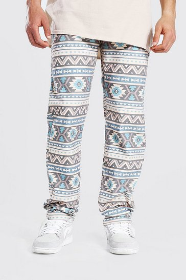 Grey Relaxed Fit All Over Abstract Print Jean