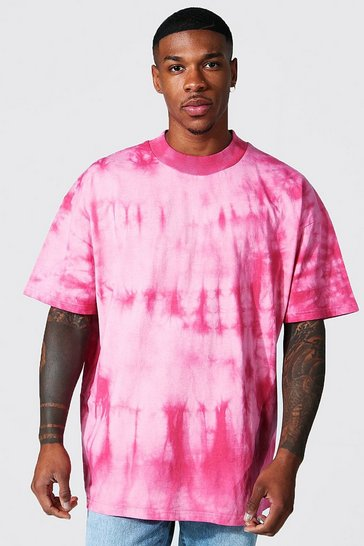 Pink Oversized Extended Neck Tie Dye T-shirt