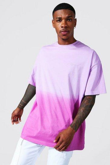Lilac purple Oversized Man Signature Ombre T-shirt