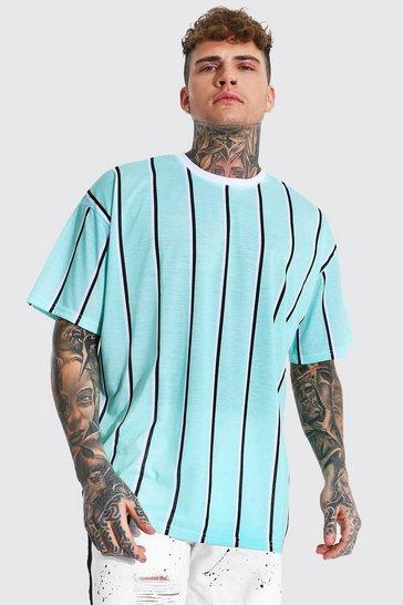 Green Oversized Vertical Stripe Crew Neck T-shirt