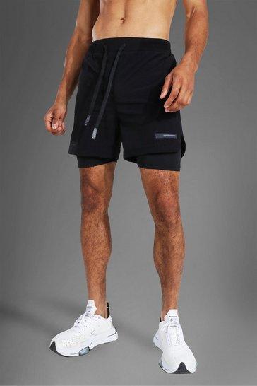 Black Man Active Crinkle Nylon 2 In 1 Short