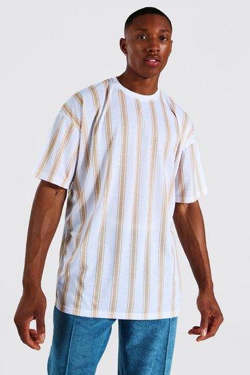 White Oversized Vertical Stripe Crew Neck T-shirt