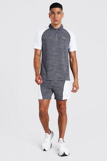 Grey Man Active Contrast Neck Polo & Short Set