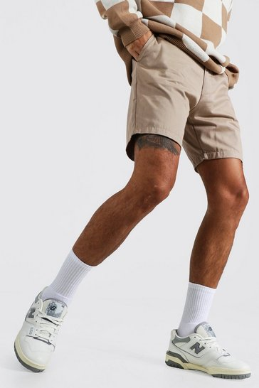 Beige Slim Chino Short With Man Rubber Badge